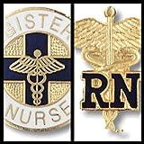 EMI Registered Nurse Rn Caduceus and Rn Round Emblem Pin Set