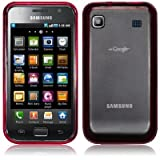 SAMSUNG i9000 GALAXY S FROSTED CRYSTAL BACK COVER WITH GEL EDGE - RED PART OF THE QUBITS ACCESSORIES RANGE
