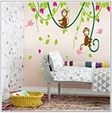 MZY LLC TM 110130cm Large Green Tree Vine Monkey Flower Home Decor Removable Wall Sticker Decals Nur