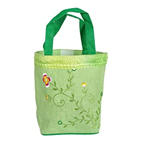 Olive N Figs Lime Green Embroidered Jute Handbag/Tote