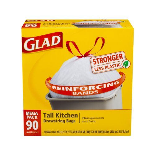 Glad Tall Kitchen Drawstring Trash Bags, 13 Gallon, 90 Count