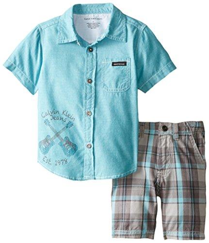 Calvin Klein Little Boys' Blue Shirt with Plaid Shorts