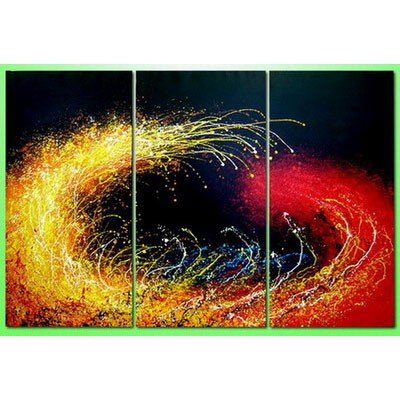 Sangu 100% Hand Painted 3-Piece Red And Yellow Fireworks For Abstract Oil Paintings Canvas Wall Art For Home Decoration