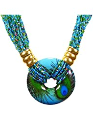 Stylish Ethnic Beads Light Weight Golden Multi Strand Peacock Necklace For Women And Girls By FreshVibes