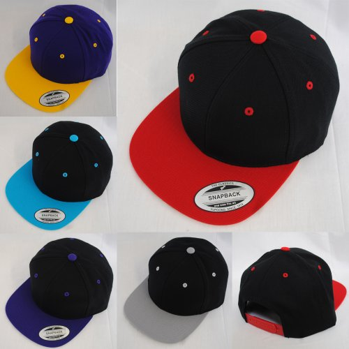 New Yupoong Two-Tone Flat Peak Snapback Baseball Cap - Purple/ Yellow