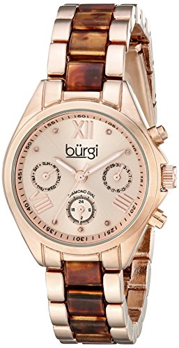 Burgi Women's BUR130RGBR Diamond Accented Rose Gold & Tortoise Resin Multifunction Bracelet Watch (Rose Resin Bracelet compare prices)