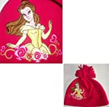 DISNEY BEAUTY AND THE BEAST PRINCESS BELLE HAT FLEECE HAT GIRLS EMBROIDERED POM POM