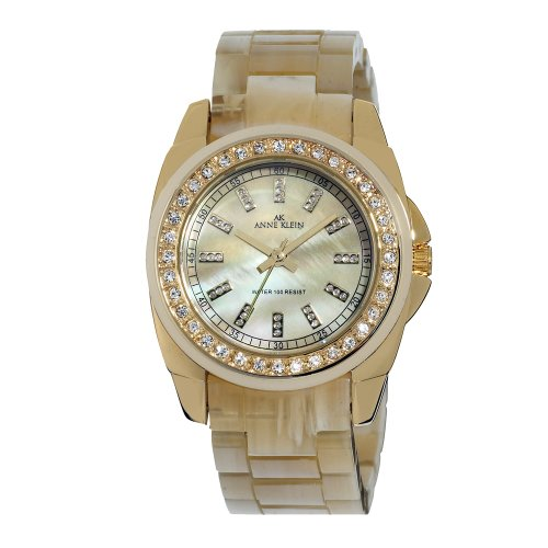 AK Anne Klein Women's 109380CMHN Swarovski Crystal Gold-Tone and Horn Plastic Bracelet Watch
