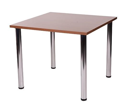 Fabian quadrato piccolo o grande cucina tavolo da pranzo con 4gambe cromate (Noce, 90x 90cm)