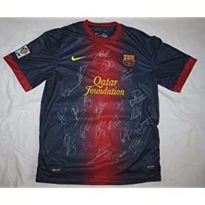 2012-13 FC Barcelona Team Signed Jersey - 21 Sigs - Lionel Messi, Xavi, & Villa - Autographed Soccer Jerseys