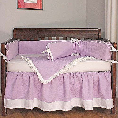 Hoohobbers Crib Bedding Set, Baby Orchid, 4 Piece