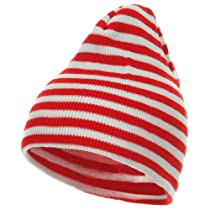 Trendy Striped Beanie - Red White