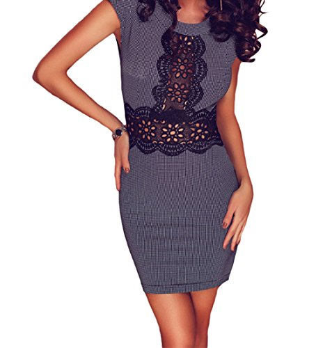 bling-bling-dress-womens-micro-black-white-plaid-crochet-lace-trim-mini-dress-s