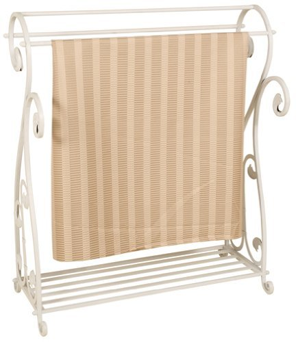Welcome Home Accents Whitewash Metal Quilt Rack with Shelf