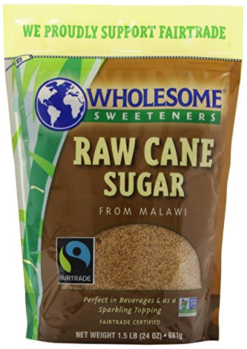 Wholesome Sweeteners Fair Trade Raw Cane Sugar, 24-Ounce Pouches (Pack Of 12)