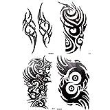 4 Sheets Black Large Temporary Tattoo Men Women Tribal Totem Black Ink Henna Beach Arm Chest Back