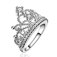 Fashion Beautiful Jewelry New 925 Silver Crystal Princess Crown Fine Ring from NYKKOLA