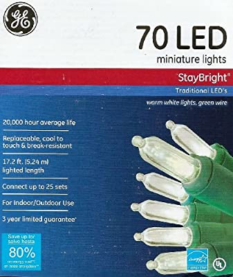 GE Set of 70 Traditional StayBright LED Warm White Lights - Christmas or Garden