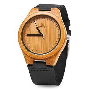 REDEAR Mens Bamboo Wooden Quartz Watch Leather Band Analog Display Waterproof Wristwatch (Black)