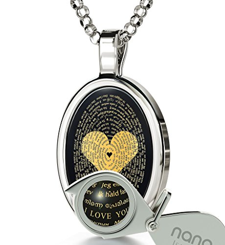 925 Silver Love Necklace Inscribed with I Love You in 120 Languages on Onyx Pendant