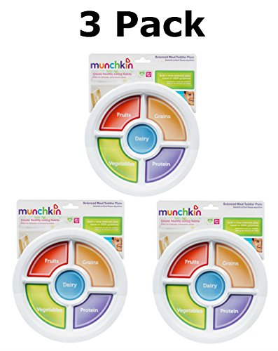 Munchkin Balanced Meal Toddler Plate BPA Free (3 Pack) - 1