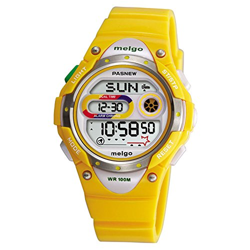 WISE® Teenage Girls Watch, Waterproof 100m Watches, Colorful Rainbow Dial Digital Display Sports Casual Wrist Watches 2001d (Yellow)