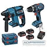 BOSCH GSR 18 V-Li Cordless Screwdriver + GBH 18 V-EC Rotary Hammer +3 x 4.0 Ah Batteries + LBoxx