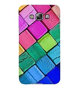 MULTICOLOURED SLANTING CHECK PATTERN 3D Hard Polycarbonate Designer Back Case Cover for Samsung Galaxy E7 :: Samsung Galaxy E7 E700F (2015)