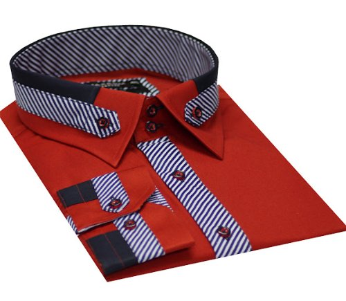 Italian Design Men's Formal Casual Shirts Detail Collar & Cuffs Red Colour Slim