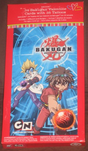 Bakugan Battle Brawlers 34 Valentine Cards with 35 Tattoos - 1