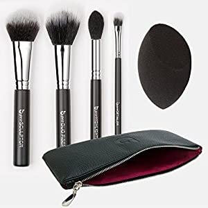 Premium Contouring & Highlighting Kit: [5 PC] Synthetic Makeup Brush Set with Blender Sponge + BONUS Makeup Case: Sculpting Tools for Full Face Contouring with Powder + Creams; Professional Quality