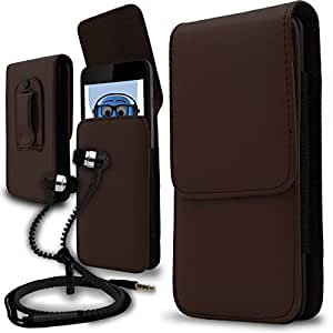 iTALKonline Philips W7555 Brown PREMIUM PU Leather Vertical Executive Side Pouch Case Cover Holster with Belt Loop Clip and Magnetic Closure