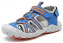 Santiro Kids Sandals for Girl Boys Outdoor Unisex Athletic Children Water Shoes Hiking sandals shoes, Blue, 31