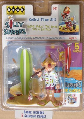 Silly Surfer Carded Figure With Bonus 5 Collecters Cards #41 HoDad Makin` The Scene With Six-Pack