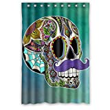 Atnee Unique Funny Purple Mustache Flower Skull Shower Curtain Standard Inch Size 48