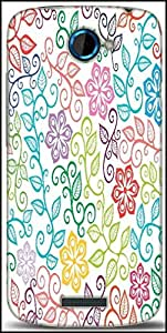 Snoogg Seamless Texture With Flowers And Butterflies Endless Floral Pattern Designer Protective Back Case Cover For HTC One S
