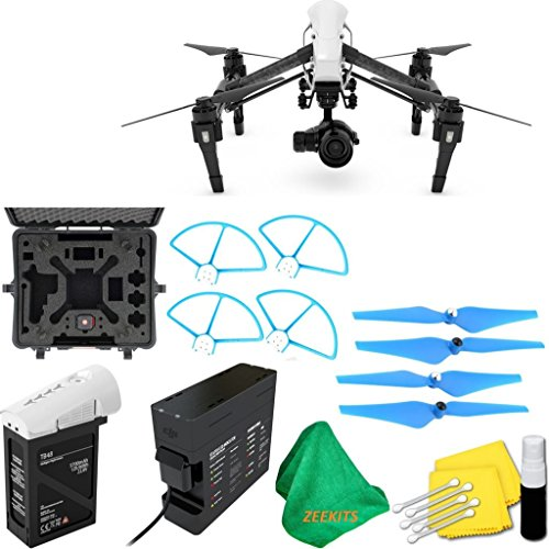 DJI-Inspire-1-PRO-Drone-with-Single-Remote-Controller-Lens-Deluxe-Hard-Case-4pcs-Blue-Propellers-Blue-Propeller-Guards-ZEEKITS-Microfiber-Cloth-Lens-Cleaning-Kit-for-DJI