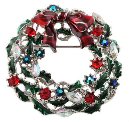 Green  Red Iced Out Christmas Wreath Brooch &