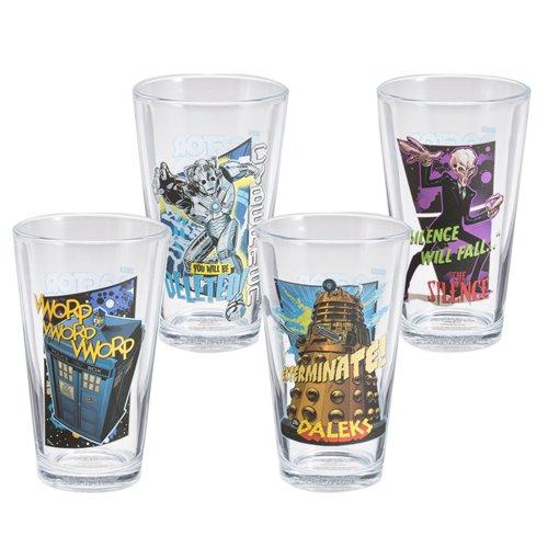 Vandor 16012 Doctor Who 4 Pc 16 Oz Glass Set, Multicolor