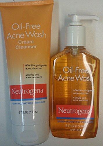 все цены на NEUTROGENA OIL-FREE ACNE WASH + ACNE WASH CREAM CLEANSER SET OF 2 онлайн