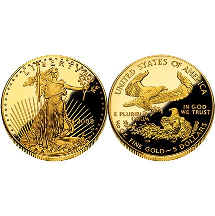 2008 American Eagle $5 Gold Proof One-tenth with Box