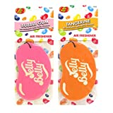 JELLY BELLY TWIN PACK 2D BEAN SWEETS SCENT CAR AIR FRESHENER - BUBBLE GUM + TANGERINE