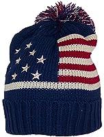BWH Adult American/Americana Flag Cuffed Knit Beanie W/Pom Pom (One Size)