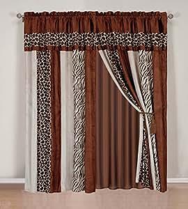 8 piece safari curtain set animal print zebra for Animal print window treatments