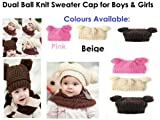 Dual Ball Knit Sweater Cap Fashionable Childrens Girls/Boys (brown)