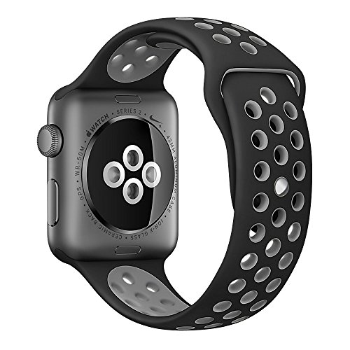 Apple Watch Series 2 Nike Sport Band, UMTELE Soft Silicone Replacement Strap with Ventilation Holes for Apple Watch Nike Plus Black/Cool Gray 42mm (Cool Technology Watches compare prices)