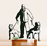 Vinyl Wall Art Decal Sticker Gangsta with Pitbull Dogs Lifesize
