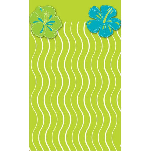 Blue Hawaiian Tableskirt Plastic Table Skirting (1 per package)