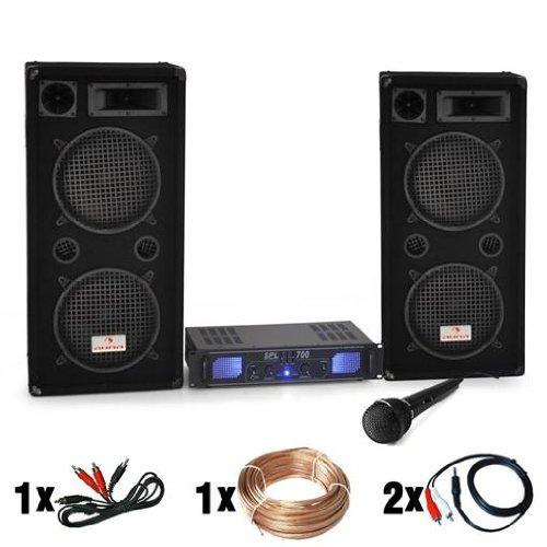 """DJ set """"DJ-26"""" impianto audio completo PA (2 casse AUNA diffusori 2000 Watt totali, 1 amplificatore Skytec finale di potenza, 1 microfono dinamico, cavi per collegamento)"""