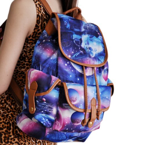 Beier® Dy0414 Blue Special Galaxy Backpack Canvas Student Schoolbag
